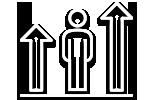 Icone - Homem entre duas setas para cima
